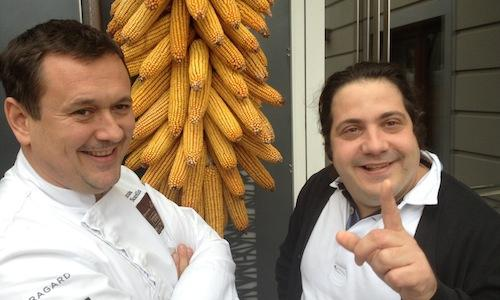 Chef Emanuele Scarello and pastry chef Gianluca Fusto last Monday morning in Godia, Udine, on the doorstep of the former's restaurant Agli Amici. They were trying out the menu they will cook at Ratan�, in Milan, on Monday December 3rd. 100 euros per person, for info and bookings call 800.825144