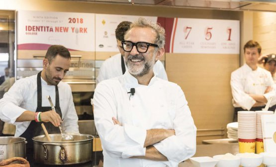 Massimo Bottura, 56 last September 30th, at Eataly Flatiron's Scuola (photo from Brambilla/Serrani)