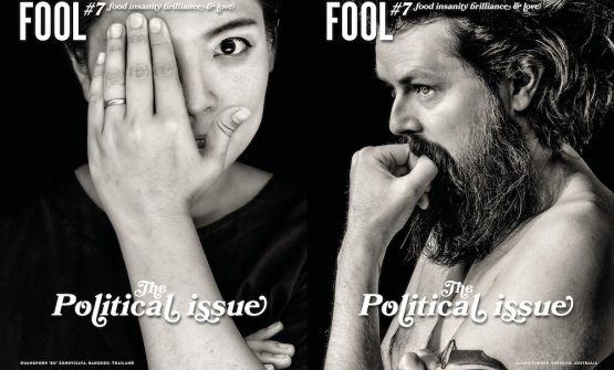 The two covers of Fool magazine #7, published in a double version: the cover with Bo Songvisava of Bo.lan in Bangkok and the one with Aaron Turner of Igni, Australia. Published in Sweden, written in English, you can order it online for 23.59 euros (limited edition, 3,000 copies)