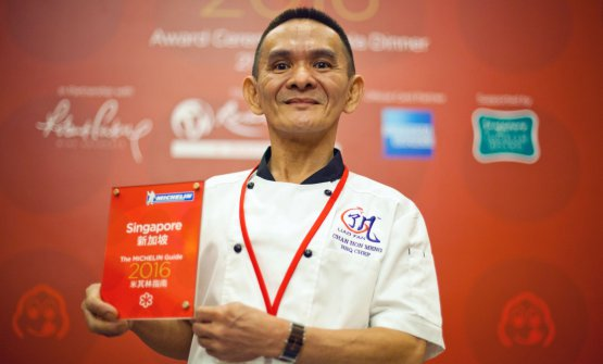Chan Hong Meng at the Michelin Singapore award giving ceremony in 2016, when he got the Michelin star