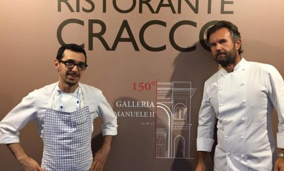 With Cracco in front of the building site at Galleria Vittorio Emanuele II in Milan