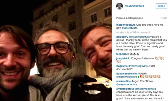 A selfie from 2015 with Massimo Bottura [it's taken from his Instagram account] at the 50Best with René Redzepi and Joan Roca