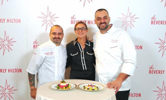 Chefs Giambattista Vinzoni and Alberico Nunziata with our Francesca Zanetti