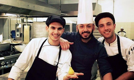 Alessandro Rinaldi, in the middle, last year when he was working in Punta Ala