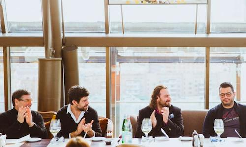 Part of the almost entirely Italian jury, for the Russian young chef of the year 2014 contest: left to right, chef Nino Graziano, actor Pier Francesco Favino, chefs Mirko Zago and Uilliam Lamberti, true Italian cuisine authorities in Moscow. With them, there was Gabriele Zanatta for Identit� (photo credits Silver Triangle)
