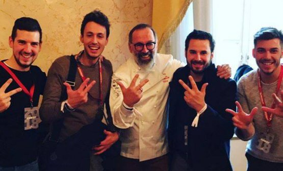 Norbert Niederkofler celebrates the third star with sous Michele Lazzarini, pastry chef Andrea Tortora and the other main members of his brigade