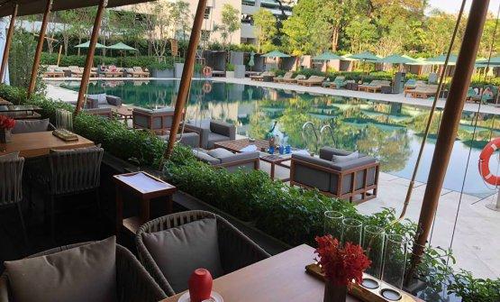 The restaurant veranda overlooking the swimming pool