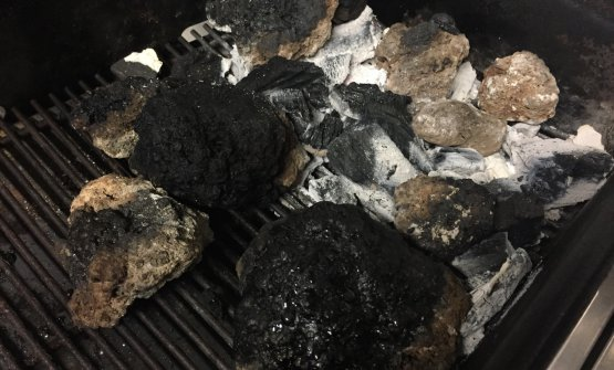 Lava rocks on the barbecue