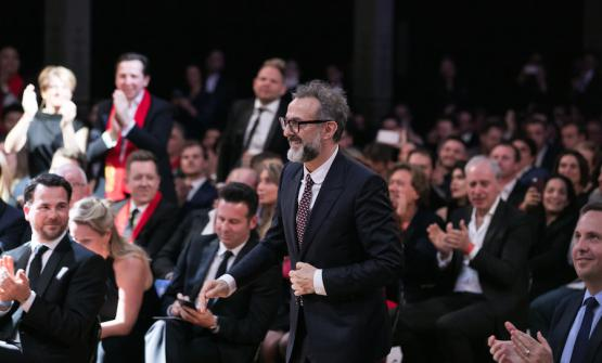 Massimo Bottura smiles on Wednesday 5th April when he gets on the stage of the 50 Best in Melbourne to get the prize for the Best Restaurant in Europe, being the second restaurant in the world. Copyright The World's 50 Best Restaurants