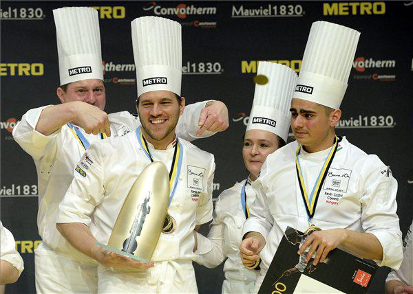 Budapest, 12th May: after two days of intense competition, chef Tamás Széll of restaurant Onyx (second to the left) celebrates the victory in the European finals of the prestigious Bocuse d'Or together with his team. 11 European teams will compete in the world finals in Lyon, on 24-25th January 2017, but not Italy