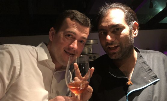 """Gaggan withVladimir Kajic, the restaurant's Serbian sommelier. They'll soon open Wet together, serving """"good food, good wines and good music"""""""