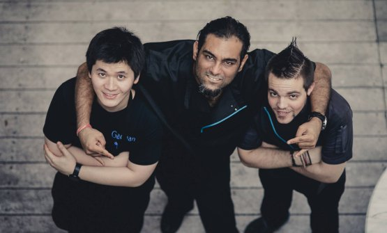 Gaggan Anand with two members of his staff
