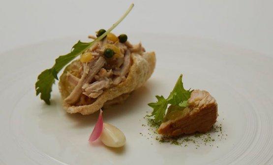 "Pork, Tuscan style, puffed rind stuffed with ""Chianti tuna"", hot cannellini beans, roasted lemon, fresh pepper"