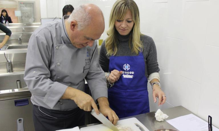 The master and the pupils: Peppe Barone is concentrated in spreading his culinary knowledge at Nosco, Scuola Mediterranea di Enogastronomia which is located inside the Antico Convento dei Cappuccini, in Ragusa Ibla