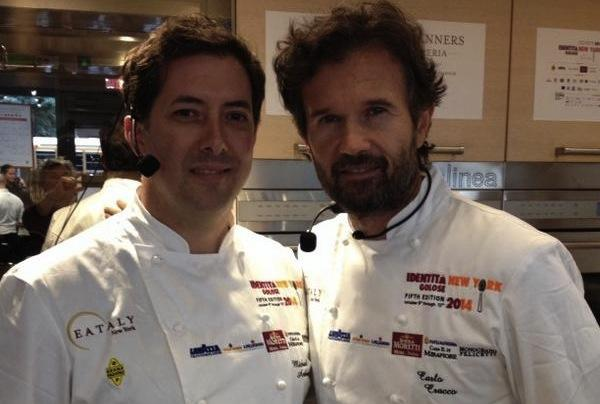 Michael Anthony, executive chef at Gramercy Tavern and Carlo Cracco before the third lesson at Identit� New York, a very interesting excursus between dashi (the American) and two great symbols of Italy and of Cracco (rice arancino and sea urchin)