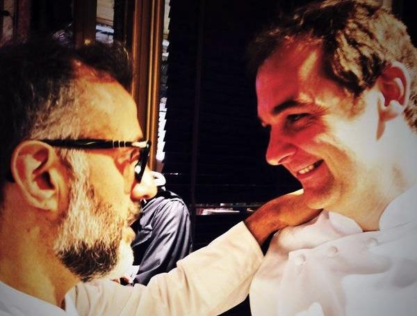 Massimo Bottura and Daniel Humm, Osteria Francescana in Modena and Eleven Madison Park in New York. They are joint by a profound friendship which was reaffirmed during the lesson at Eataly today, what with Livornese-style red mullet, roasted chicken and fertile considerations on the future of cuisine