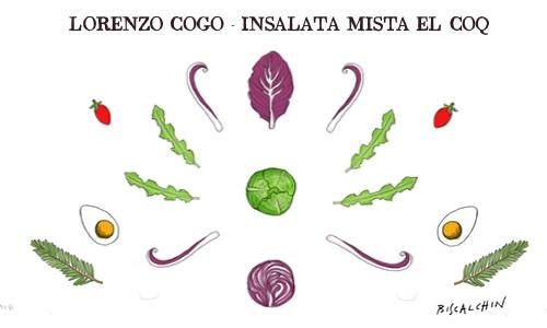 Radish, cabbage, savoy cabbage, kale leaves, cabbage leaves, cherry tomatoes: lots of great vegetables inside the mixed salad of�Lorenzo Cogo, chef of�El Coq in�Marano Vicentino (Vicenza),�+39.0445.1886367