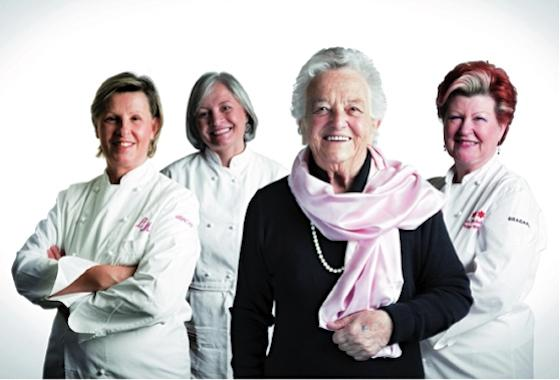 During the presentation of the first ros� version of Cuv�e Annamaria Clementi - Milan, 2010 - , the owner of Ca' del Bosco in Franciacorta region, Maurizio Zanella, gathered three female-chefs, each of them enlightened by 3 Michelin stars, here posing with the mother of the producer. From left to right: Luisa Valazza of Sorriso in Soriso (Novara), Nadia Santini of Dal Pescatore in Canneto sull'Oglio (Mantua), Annamaria Clementi, dressed in black with a pink scarf, and Annie Feolde of Enoteca Pinchiorri in Florence