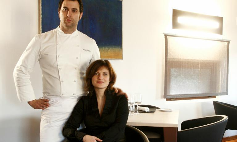 Nicola Dinato with Elodie Dubuisson, Sophie in the book, whom he met in London, when at Le Gavroche: she's her partner in life and in business