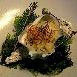 The oyster served by Jacob Holmström, one of the two chefs of Gastrologik Restaurant in Stockholm, during one of the several meal that enlivened Bernard Loiseau Festival in Mauritius