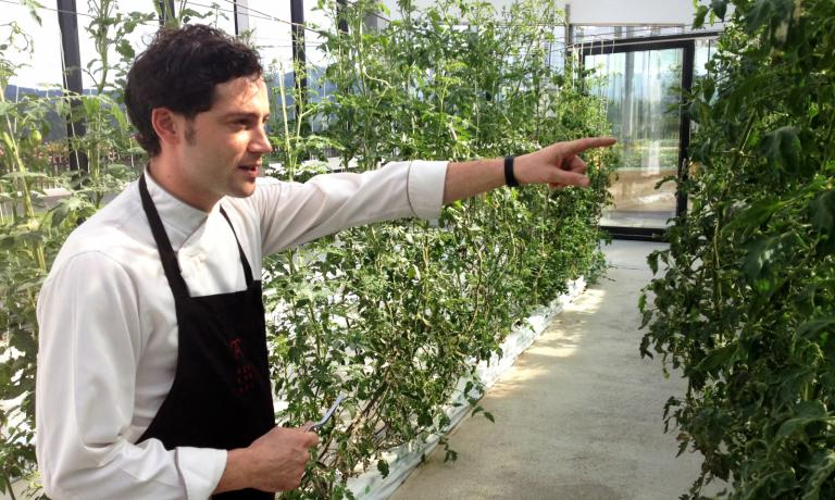 Matteo Manzini at work at Azurmendi: here, while he walks the guests down the initial path between the restaurant�s vegetable gardens (photo by Zanatta)