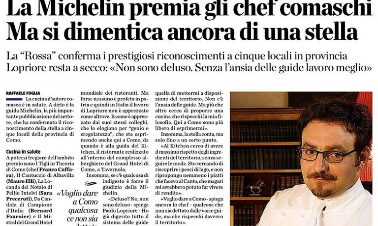 A comprehensive interview with chef Paolo Lopriore, of restaurant Kitchen in Como, by journalist Raffaele Fogliafor Provincia di Como (also an Identit� Golose contributor). No star in the 2015 edition of Guida Michelin Italia for the chef previously at Il Canto in Siena. Like him, others too would have deserved it
