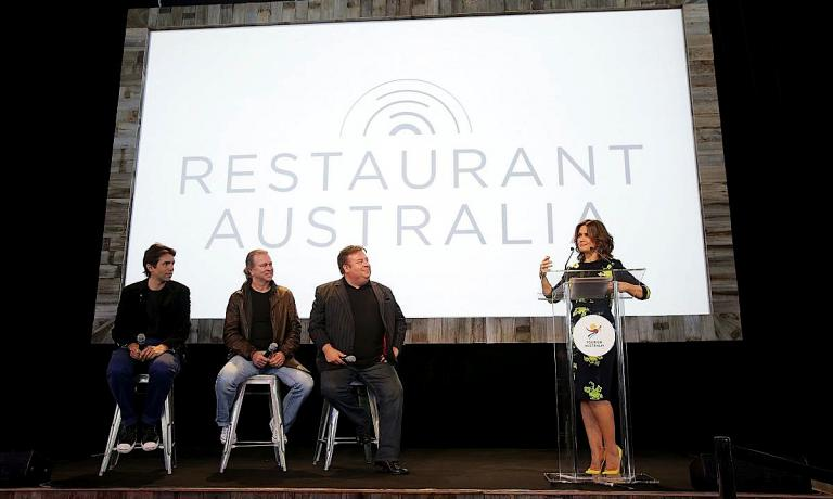 One of the most important moments of the conference in Hobart presenting the Invite the World to dinner gala dinner: left to right Ben Shewry, Neil Perry, Peter Gilmore and journalist Lisa Wilkinson