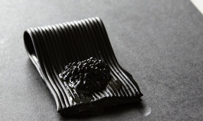 Black is black, the pasta with squid ink in the extraordinary interpretation given by Davide Scabin at Le Strade della Mozzarella in 2012