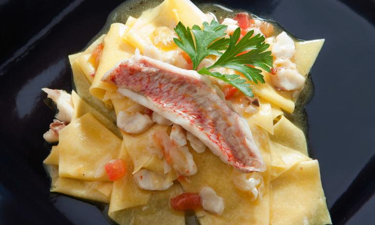 Straccetti of fresh pasta with red mullet: one of Zazzeri�s most famous dishes, even though it is not one of Gaja�s favourites
