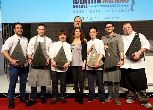 The prize-giving of the first edition of the competition linked to Taglio Sartoriale Internazionale, promoted by Consorzio Tutela Grana Padano, took place on the stage of the Auditorium hall of Identità Golose on Tuesday February 11th. The finalists were six: left to right there's first of all the winner, Denny Imbroisi, then Anton Pozeg, Kei Fukada, Elisabetta Serraiotto (and behind her Paolo Marchi), Isamu Hirayama, Giorgio Rapicavoli and finally Marco Iachetta