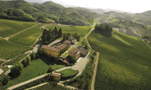 An aerial view of Villa Sparina in Monterotondo di Gavi (Alessandria), owned by the Moccagatta family. Villa Sparina is a farm producing great wines, a resort called L'Ostelliere and a restaurant - La Gallina