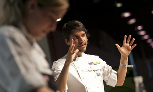 Virgilio Martinez in a photo at Identit� Milano 2013, when he held a lecture for Identit� Naturali. Two years later, the chef of Central in Lima, who in the meantime became number one in his continent according to the Latin America's 50 best, will return to the Auditorium hall with a lecture on the different altitudes in Peru. On Monday 9th February at 11.30 (photo credits Michele Bella)