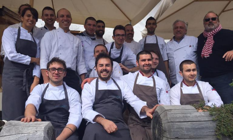 Group photo of the guys who prepared the brunch at agritourism El Brite de Larieto in Cortina d'Ampezzo (Belluno), the epilogue of the second edition of Identit� Cortina, on Sunday 6th September 2015. The group includes chefs Oliver Piras, Massimo Alver�, Davide Scabin, host Riccardo Gaspari. On the far right, Paolo Marchi, creator of the event