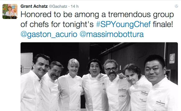 The tweet by Grant Achatz (second from the right) on his experience in the jury of the S.Pellegrino Young Chef last Friday