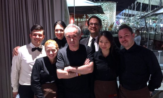 Ferran Adrià with the staff at Identità Expo in 2015: the Catalan chef announces he'll reopen elBulli in Cala Montjoi in 2018