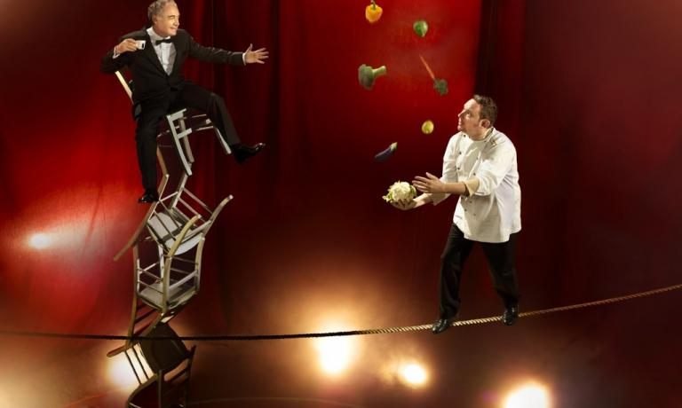 Ferran and Albert Adri� portrayed in Inspiring Chefs, the photographic project signed last year by Martin Schoellerfor Lavazza. A prophetic image: the Adri� are about to open a place in Ibiza which will blend food and entertainment, together with the Cirque du Soleil