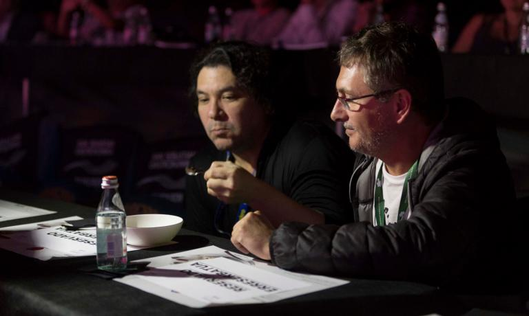 Gaston Acurio and Andoni Luis Aduriz tasting the dish presented by Alex Atala