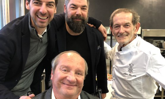 A souvenir photo for Massimiliano and Raffaele Alajmo with chef Alfredo Chiocchetti (Massimiliano's mentor, over 20 years ago), and Mauro Defendente Febbrari
