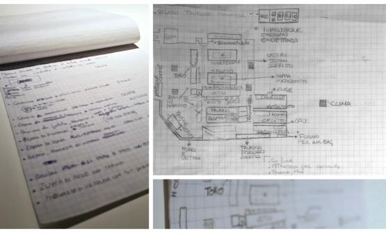 Davide Oldani's notes: during the three months atelBulli: he noted down everything, from the dishes (on the left) to how kitchen and dining room were arranged, on the right