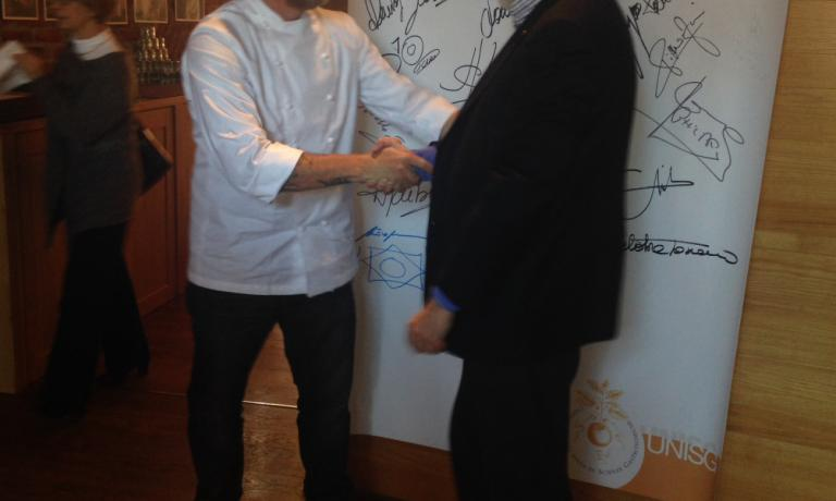 Alex Atala and Carlo Petrini at the Pollenzo meeting, last December