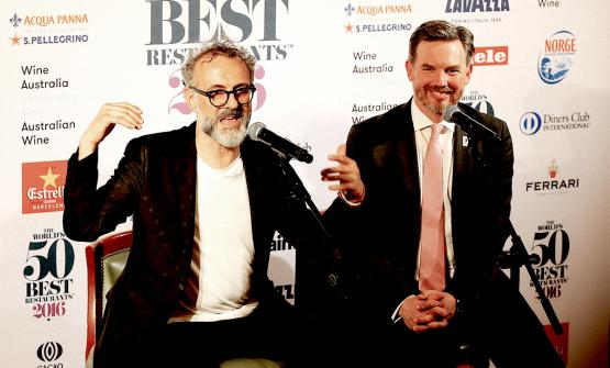 Massimo Bottura andWilliam Drewlast 13th June in New York during a press conference