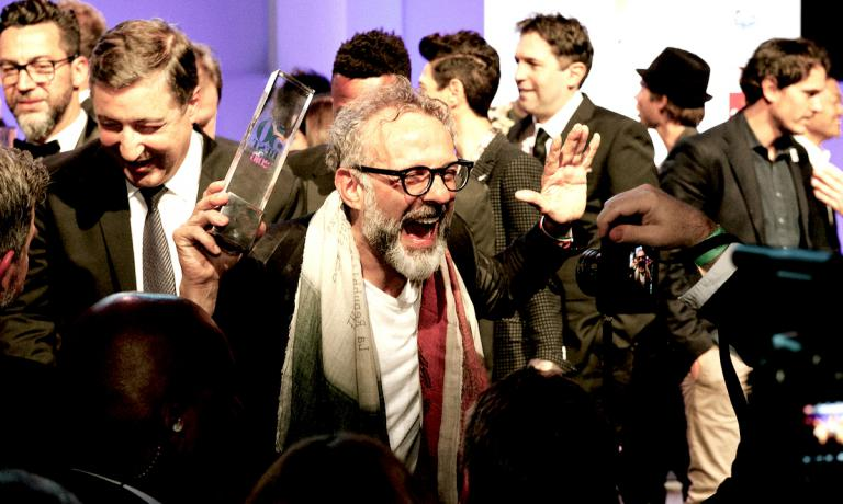 The liberating cry of Massimo Bottura in New York on Monday 13th June 2016 after winning the World's 50 Best Restaurants for the first time. Photo copyright The World�s 50 Best Restaurants
