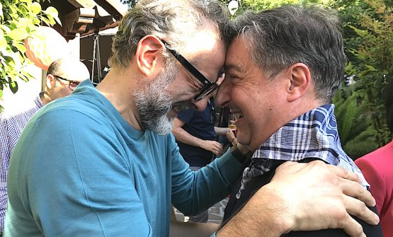 Massimo Bottura and Joan Roca at the celebrations for the 20th anniversary of Mugaritz, Andoni Luis Aduriz's restaurant close to San Sebastian. Photo by Paolo Marchi
