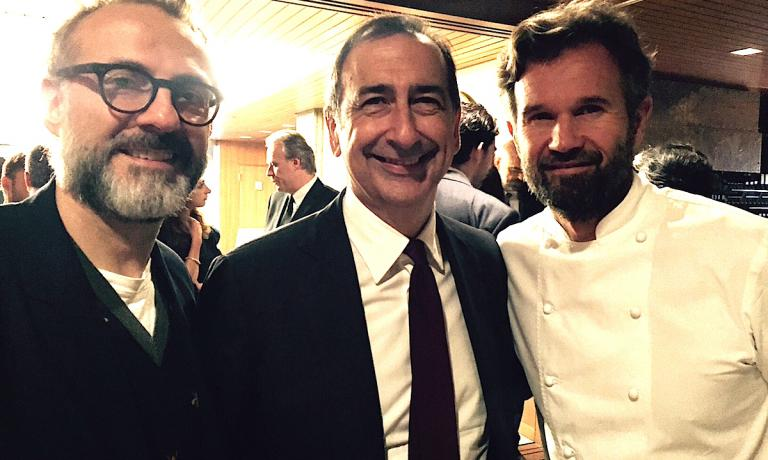 The mayor of Milan, Giuseppe Sala, with Massimo Bottura and Carlo Cracco on Friday 23rd September at the dinner dedicated to Milan at the Italian embassy in Tokyo