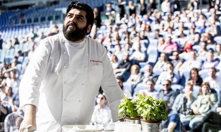 "Antonino Cannavacciuolo, patron at Villa Crespi in Orta San Giulio (Novara), 2 Michelin stars, portrayed last 19th April at the Stadio Olimpico in Rome. The chef from Vico Equense, born in 1975, founded the Cannavacciuolo Academy, a training firm that teaches aspiring cooks how to become ""perfect restaurateurs (photo by Carlo Lannutti for cucina.corriere.it)"