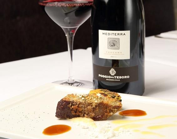 Mediterra IGT Toscana 2011 Poggio al Tesoro was chosen as a pairing with the tasty Lamb loin in garlic and thyme crust with polenta incatenata with black cabbage