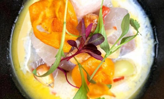 Turbot Ceviche, aji limo, sweet potato