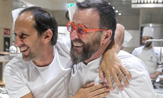 Morelli and Schiaffino during the four-handed dinner at Morelli Milano (photo by Devid Rotasperti)