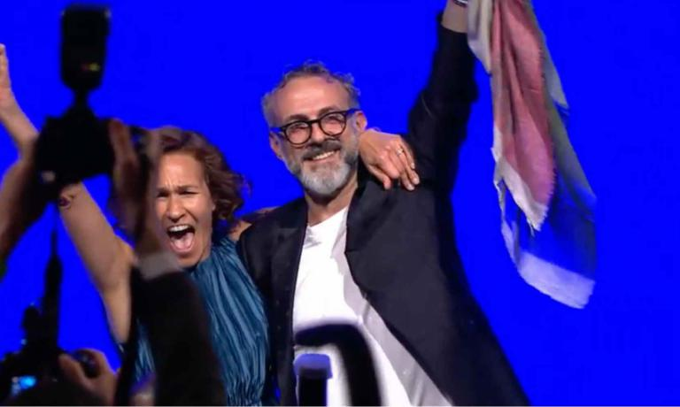 Massimo Bottura celebrates with his wife Lara Gilmore on the stage in New York: he�s the best chef in the world