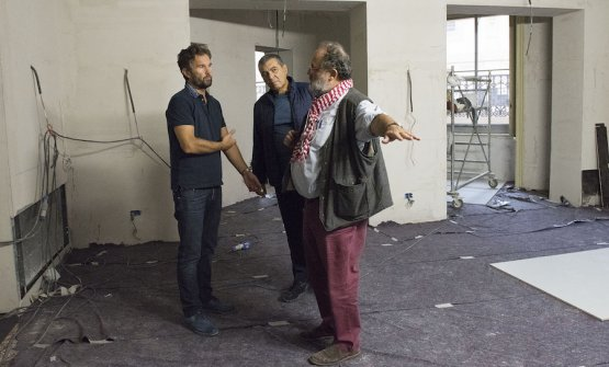 Carlo Cracco, Claudio Ceroni and Paolo Marchi in the middle of the building site